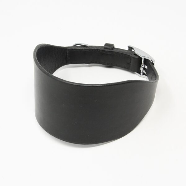 Happy Hedgerow, black leather greyhound collar
