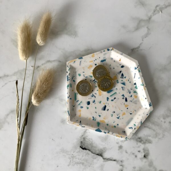 Romy Design White Terrazzo Angular Trinket Tray dish made from Jesmonite with flecks of yellow, green and blue
