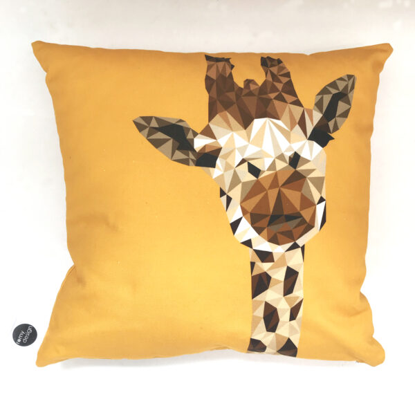 Giraffe Cushion Cover in a geometric design with yellow background printed onto 100% cotton
