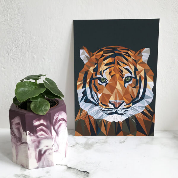 Romy Design Tiger Print in a geometric design with dark charcoal background printed on 230gsm matte photo paper