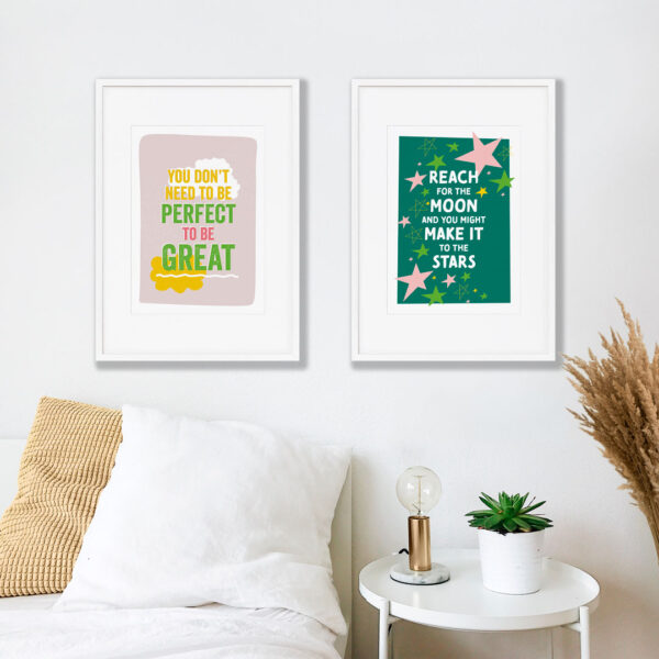 Design and Tea, colourful inspiring prints shown in a bedroom feature wall
