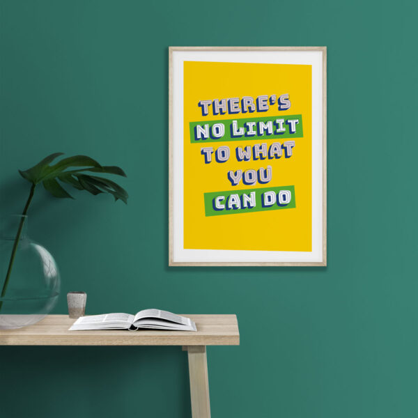 Design and Tea - There's no limit to what you can do print, Typography poster, Inspirational quote, Motivation print, Modern wall art, Home décor, Empowering art