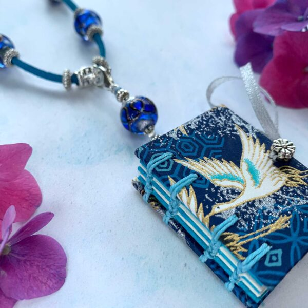 Anastacia Tohill Art Japanese Bird Book Necklace, Coptic Stitched Book, Necklace, Jewellery, Cord Necklace, Bird Necklace, Book Jewellery, Bird Jewellery, Japanese Decorative Paper
