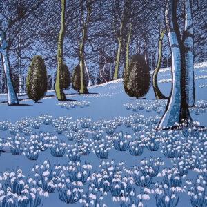 Kate Brooks Prints, Snowdrops Gardens, Original screen print