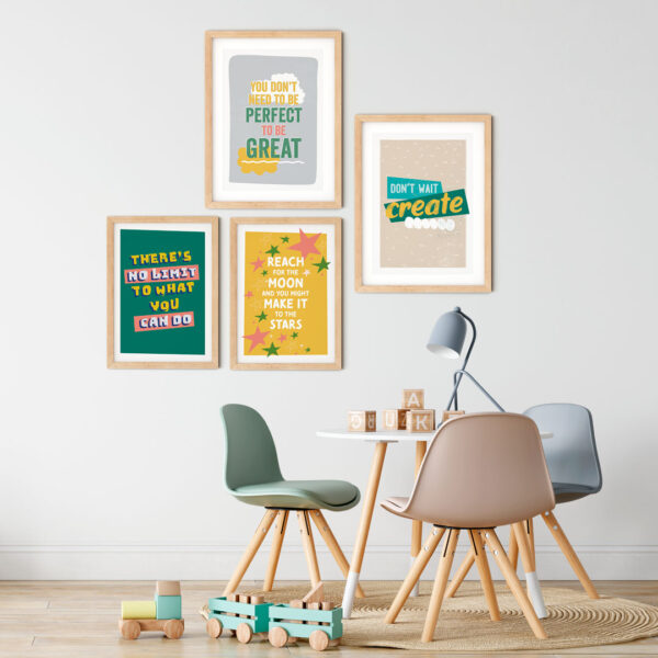 Design and Tea - Four colourful inspiring typographic prints shown as a gallery wall in a Scandinavian style child's bedroom