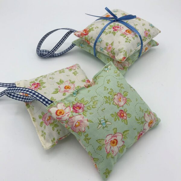 Floral Lavender Bags in packs of two with hanging gingham filled with Yorkshire Lavender
