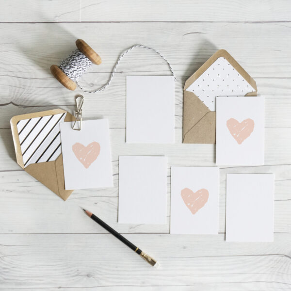 Daydream Paper Studio, Blush heart A7 mini note cards