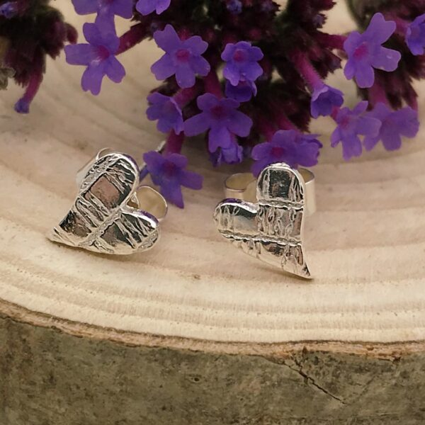 Firetree, Midi heart studs, sterling silver with a contemporary design