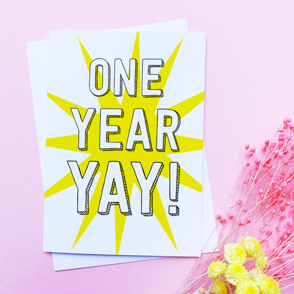 The Dimpse, one year, anniversary card, birthday card, work anniversary, paper anniversary