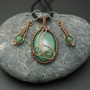 Oruki Design - Green aventurine set - oval pale green copper wrapped pendant and matching drop earrings