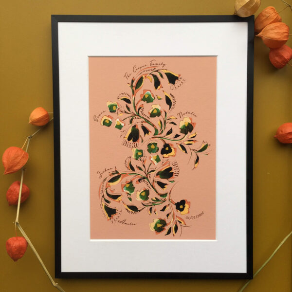 Out Of Ink Studio, Personalised Family Tree Print- Floral pattern, hand painted flower, Coral, orange