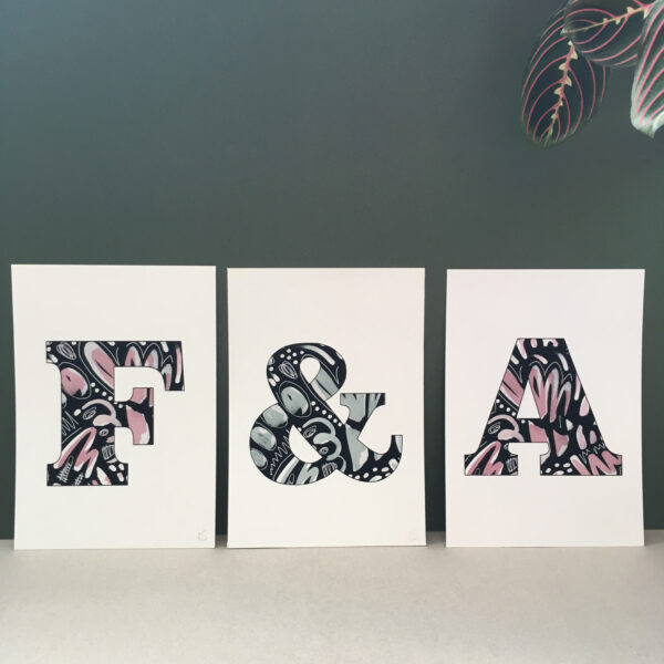 Out Of Ink Studio, Initial Prints, F print, Ampersand print, A print.
