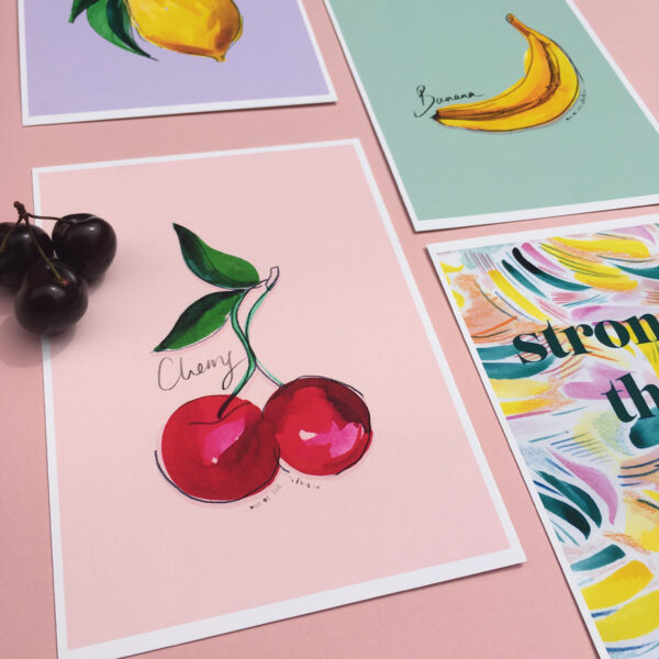 Out Of Ink Studio, Kitchent prints, Cherry print, Lemon Print, Banana print, Stronger than you think print
