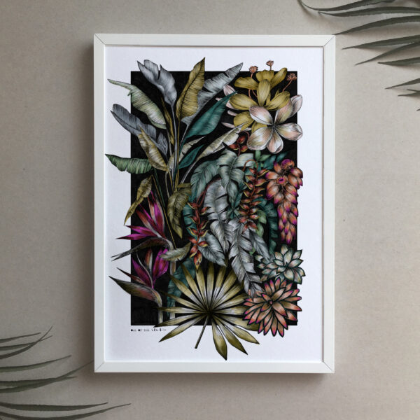Out Of Ink Studio, Rainforest print, hand drawn tropical leaves, tropical flowers.