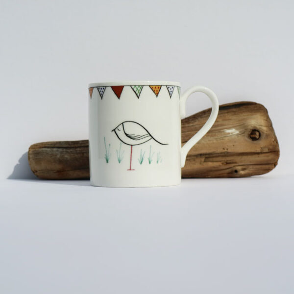 Gemma Thorpe British Bone China Mug with bunting and oystercatcher pen and ink design