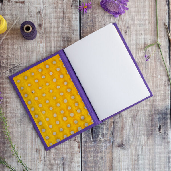 The Eloise Bindery, hand bound purple and yellow polka dot journal, open blank page