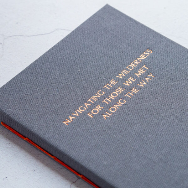 The Eloise Bindery, hand bound grey journal with personalised gold foiling
