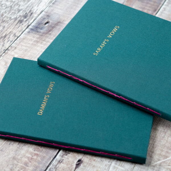 The Eloise Bindery, personalised green hand bound journals with gold foiling