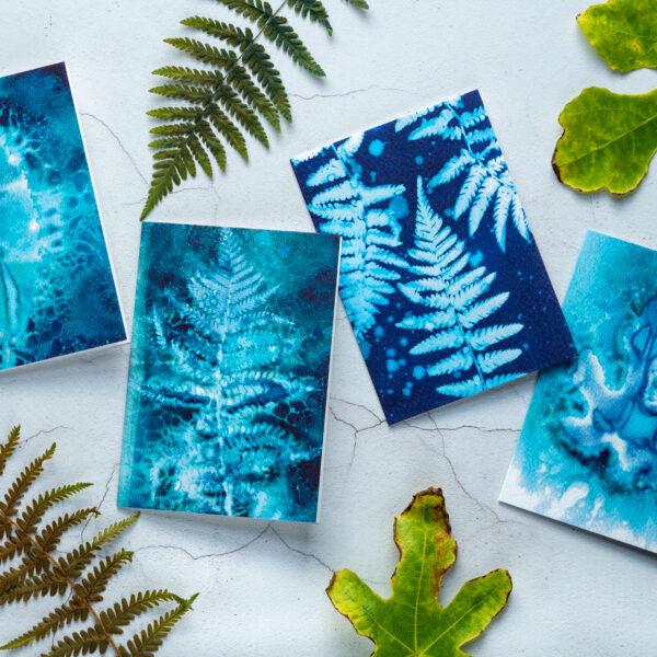 The Eloise Bindery, Set of four blue botanical cyanotype blank greeting cards