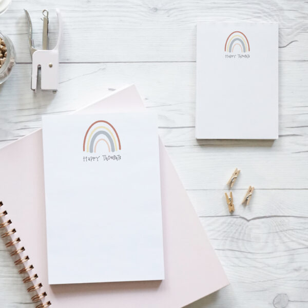 Daydream Paper Studio, Happy Thoughts A5 and A6 Rainbow Notepads