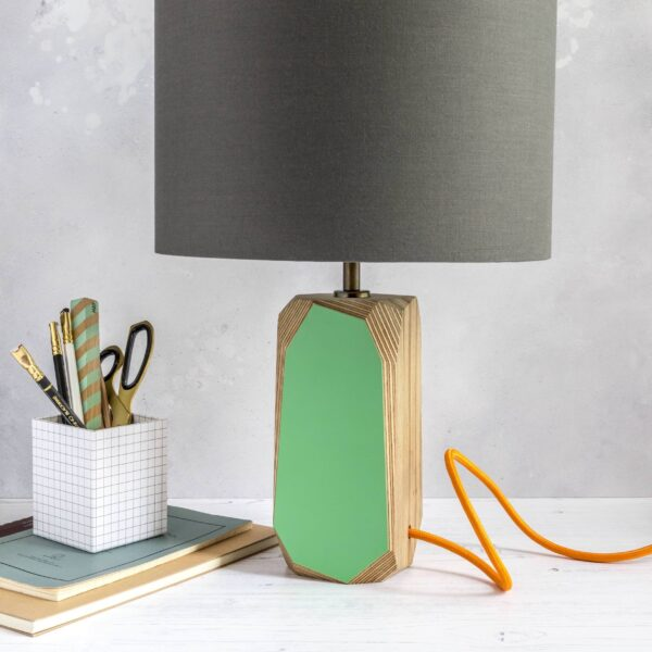 Bold & Contemporary Lighting - green with orange cable