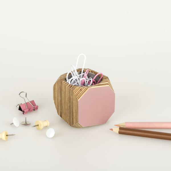 Super Cute pink multi use vessel with paper clips