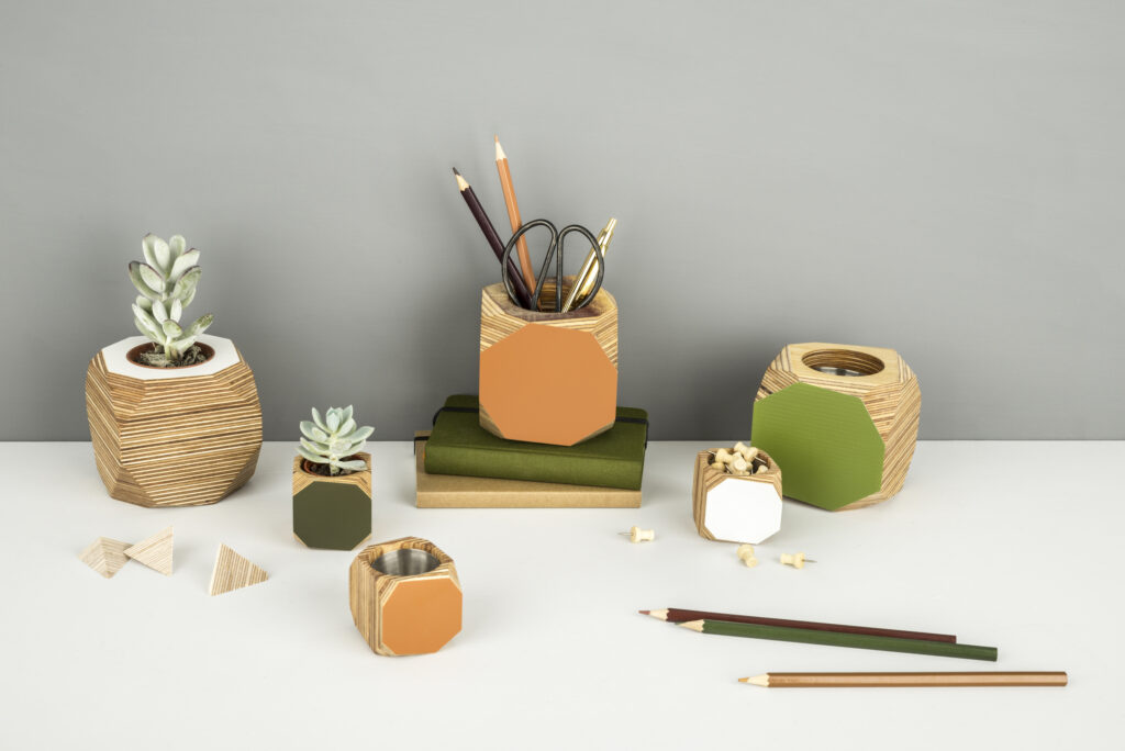 Colourful planter or desk tidy - orange, green and white