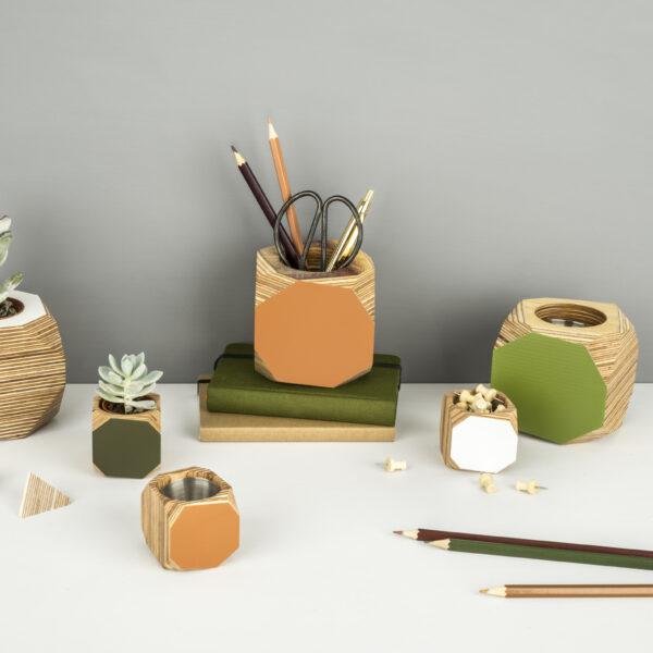 Colourful planter or desk tidy - orange, green and white