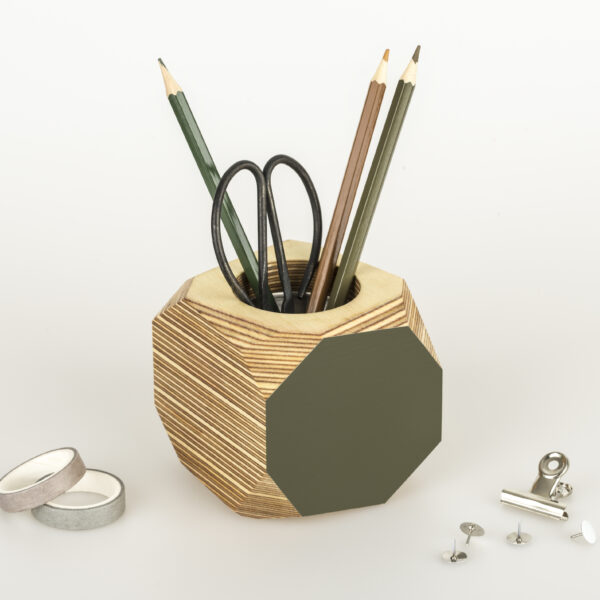Colourful planter or desk tidy - olive green