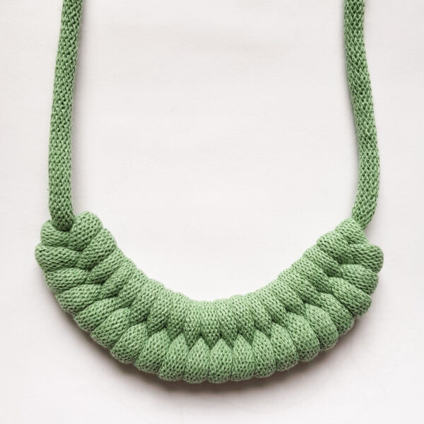 Woven Cotton Necklace in Eucalyptus