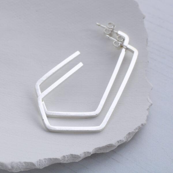 Aimi Cairns Jewellery, Silver geometric pentagon hoop earrings