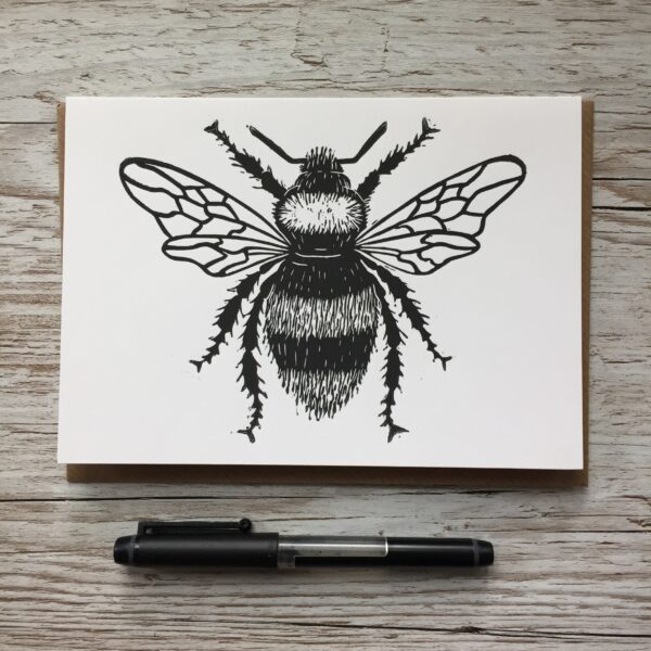Claire McKay Designs, Hand Printed Greetings Card, Bee Design