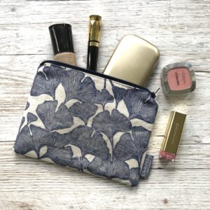Claire McKay Designs, Hand Printed Zip Pouch, Navy Ginkgo