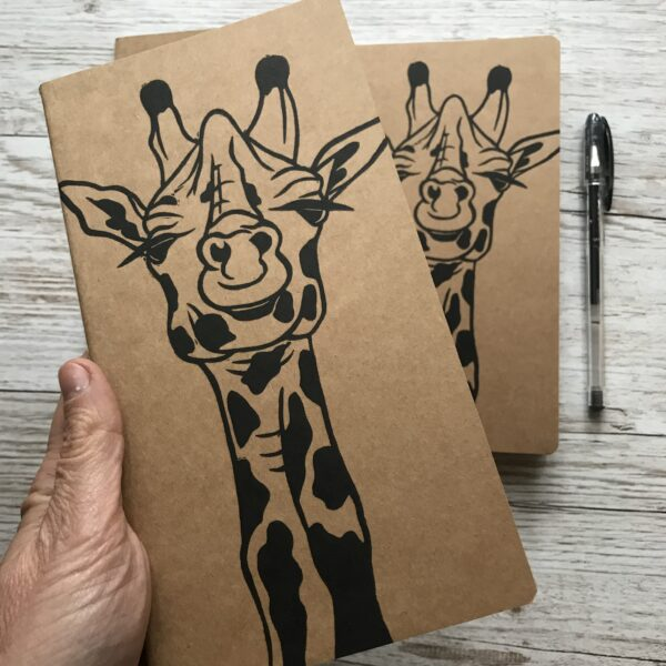 Claire McKay Designs, Hand Printed Lined Journal, Giraffe