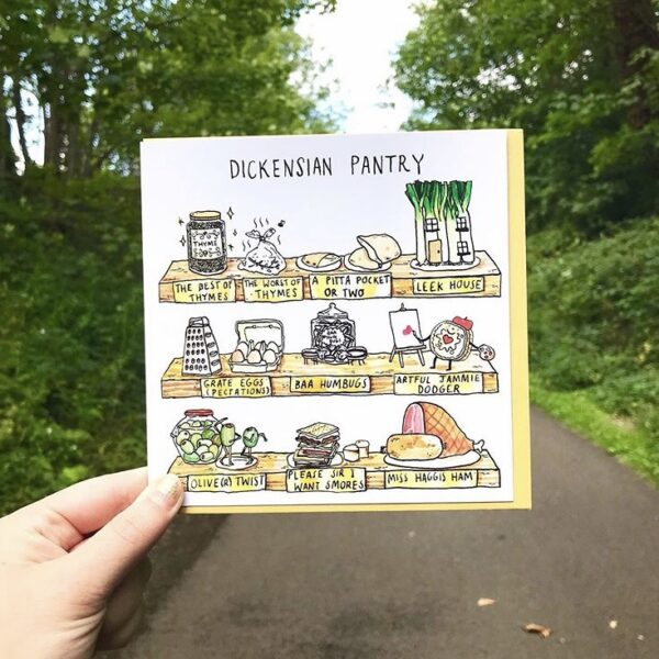 Our Dickensian pantry card, filled with food and literary themed puns!