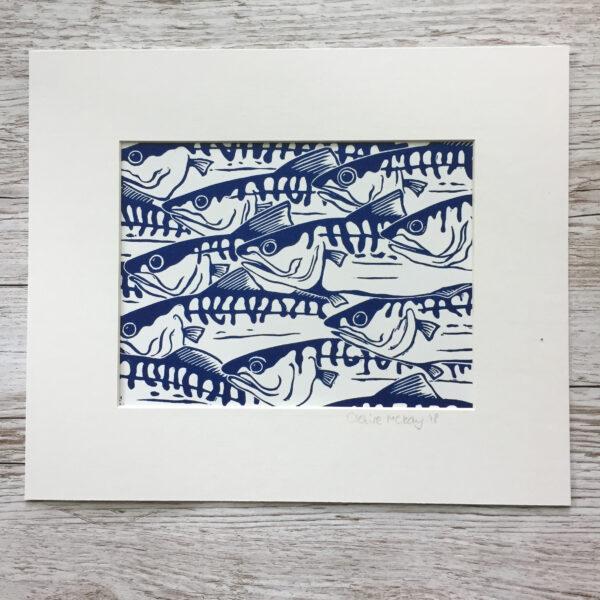 Claire McKay Designs, Original Linocut Print, Shoal of Mackerel