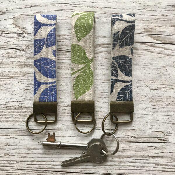 Claire McKay Designs, Hand Printed Key Ring, Leaf Design, Key Strap