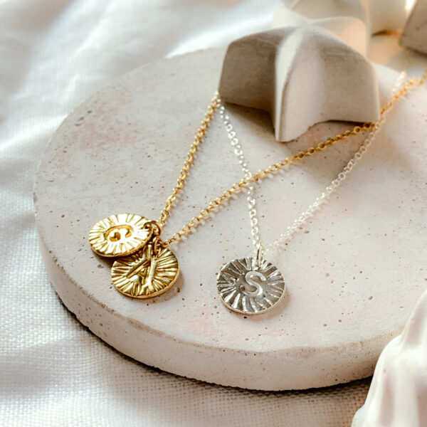 Myelti Jewellery - Handmade Gold vermeil and sterling silver initial necklaces