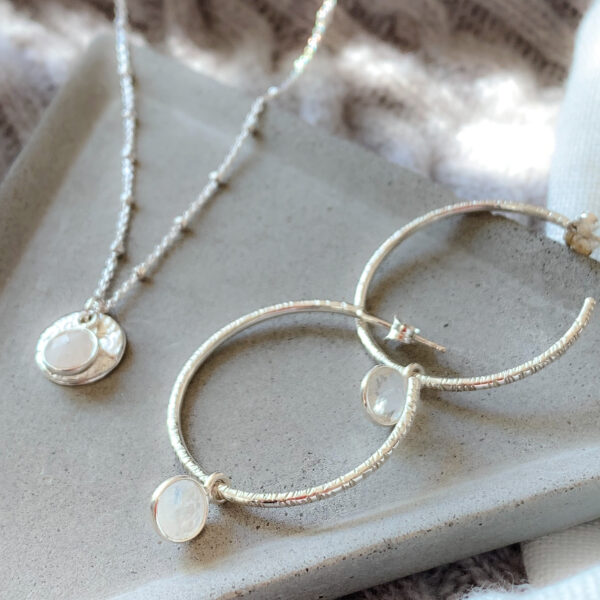 MYLETI JEWELLERY SILVER MOONSTONE NECKLACE AND HOOP EARRINGS
