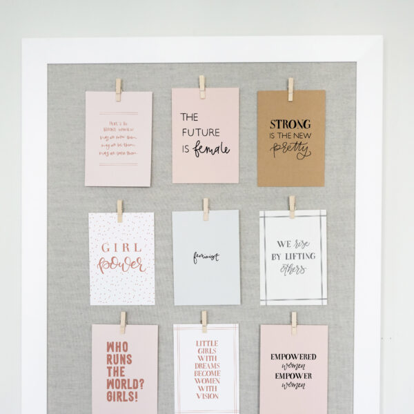 Daydream Paper Studio, Grey Pinboard with Female Empowerment Quote Cards