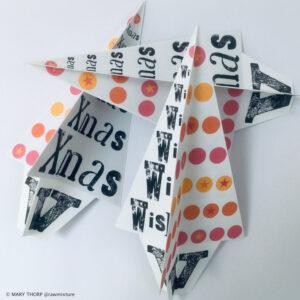 Raw Mixture Handmade folded paper xmas tree