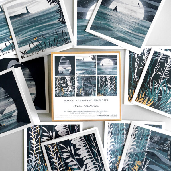Ruth Thorp Studio, Ocean Box of 12 Cards, illustrated notecards