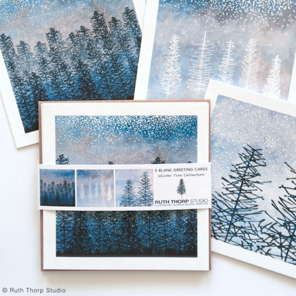 Ruth Thorp Studio, Winter Trees Pack of 3 Cards, christmas cards