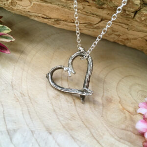 Curious Magpie Jewellery - Silver Twig Love Heart Necklace on a Sterling Silver Chain.