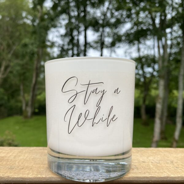 Stay A While - Damson Plum, Rose & Patchouli Soy Wax Candle, social enterprise, vegan friendly oils, soy wax, candles