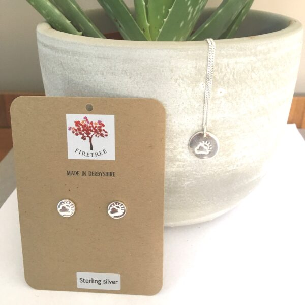 Firetree: Sunshine after the rain pendant and studs. Gift of encouragement.