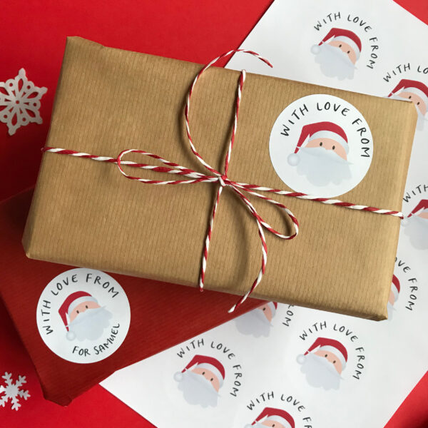 The Dimpse, personalised santa present stickers