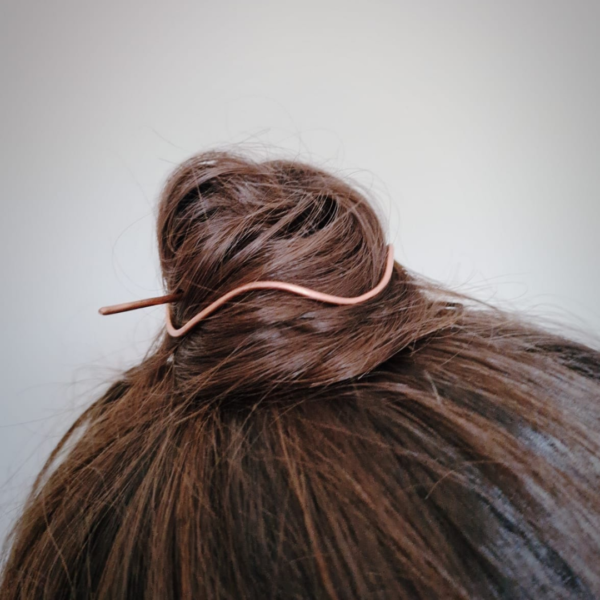 KiJo Jewellery, Copper wave hair slide worn in top knot bun