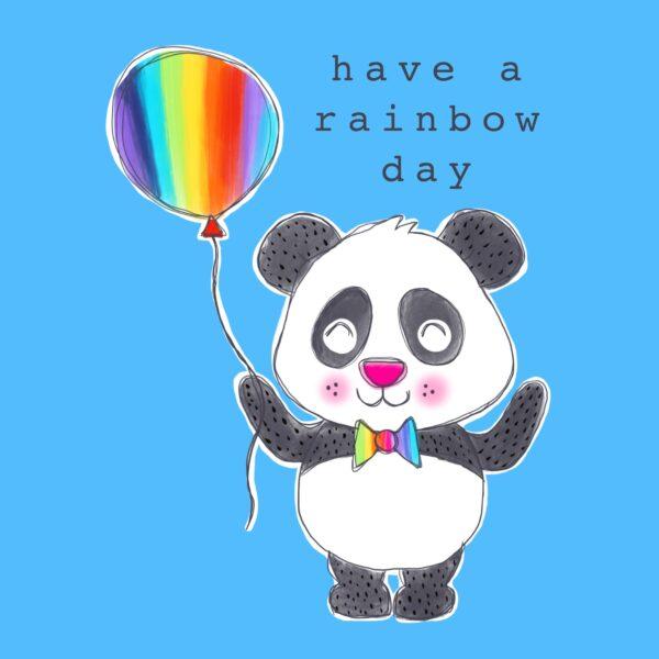 Panda Rainbow Balloon Greetings Card - Charlotte Eldred