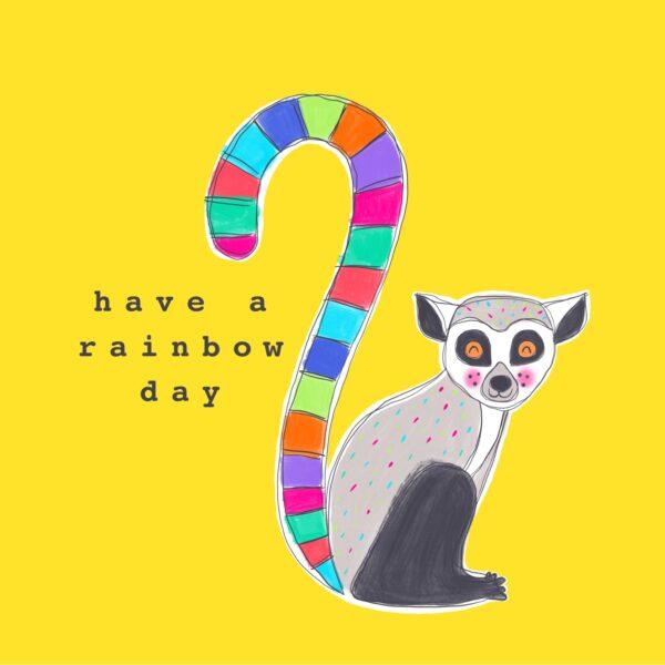Lemur Rainbow Greetings Card - Charlotte Eldred